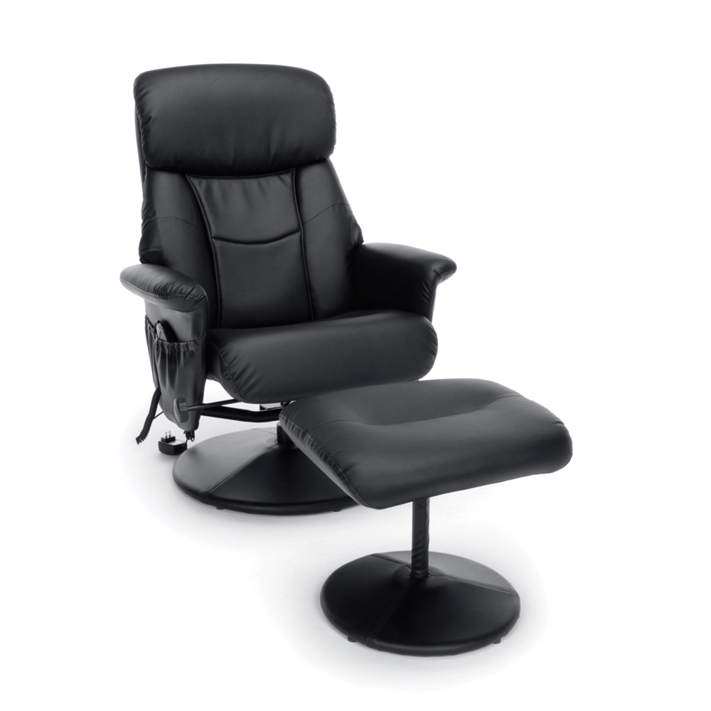 Heated Shiatsu Massage Leather Recliner And Ottoman Black