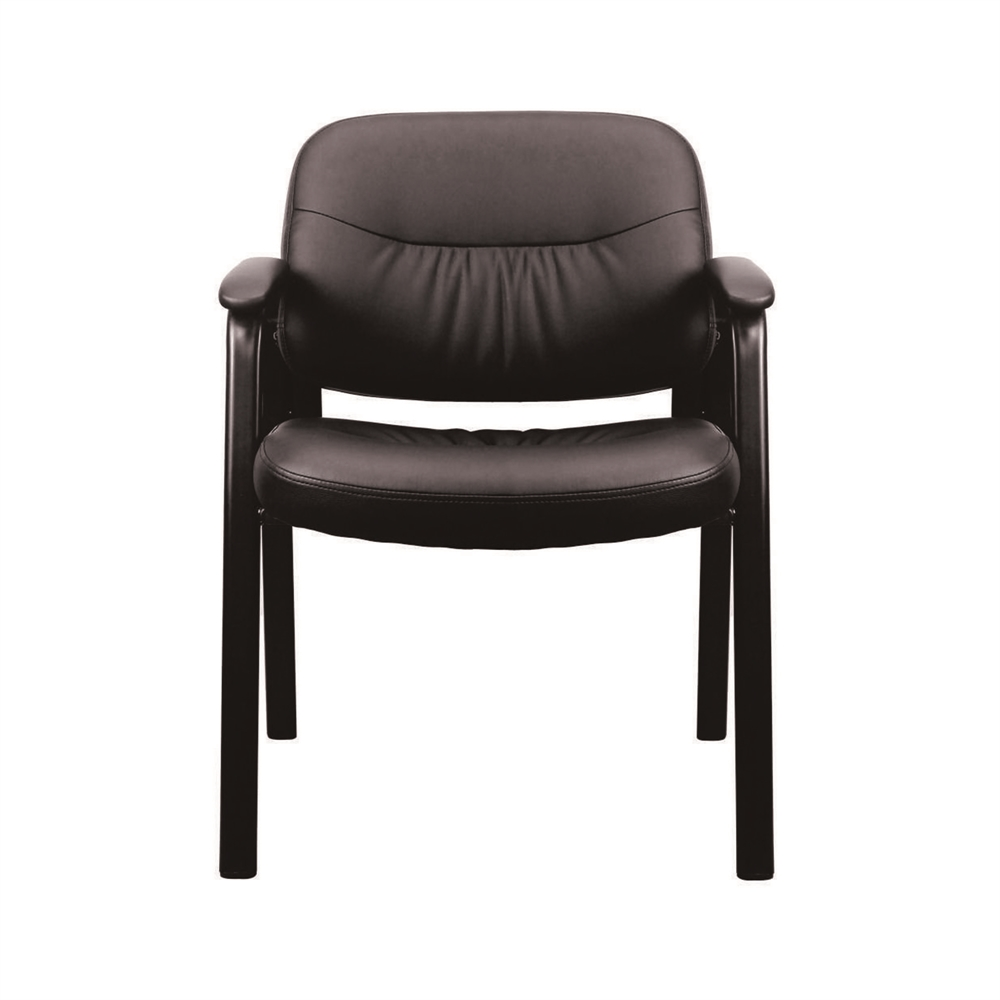 Leather Executive Side Chair with Padded Arms, Black. Picture 2
