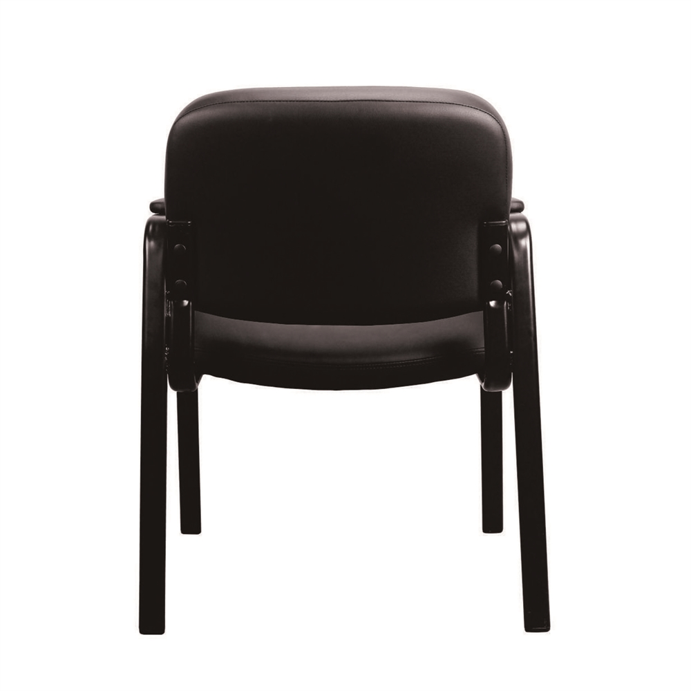 Leather Executive Side Chair with Padded Arms, Black. Picture 4