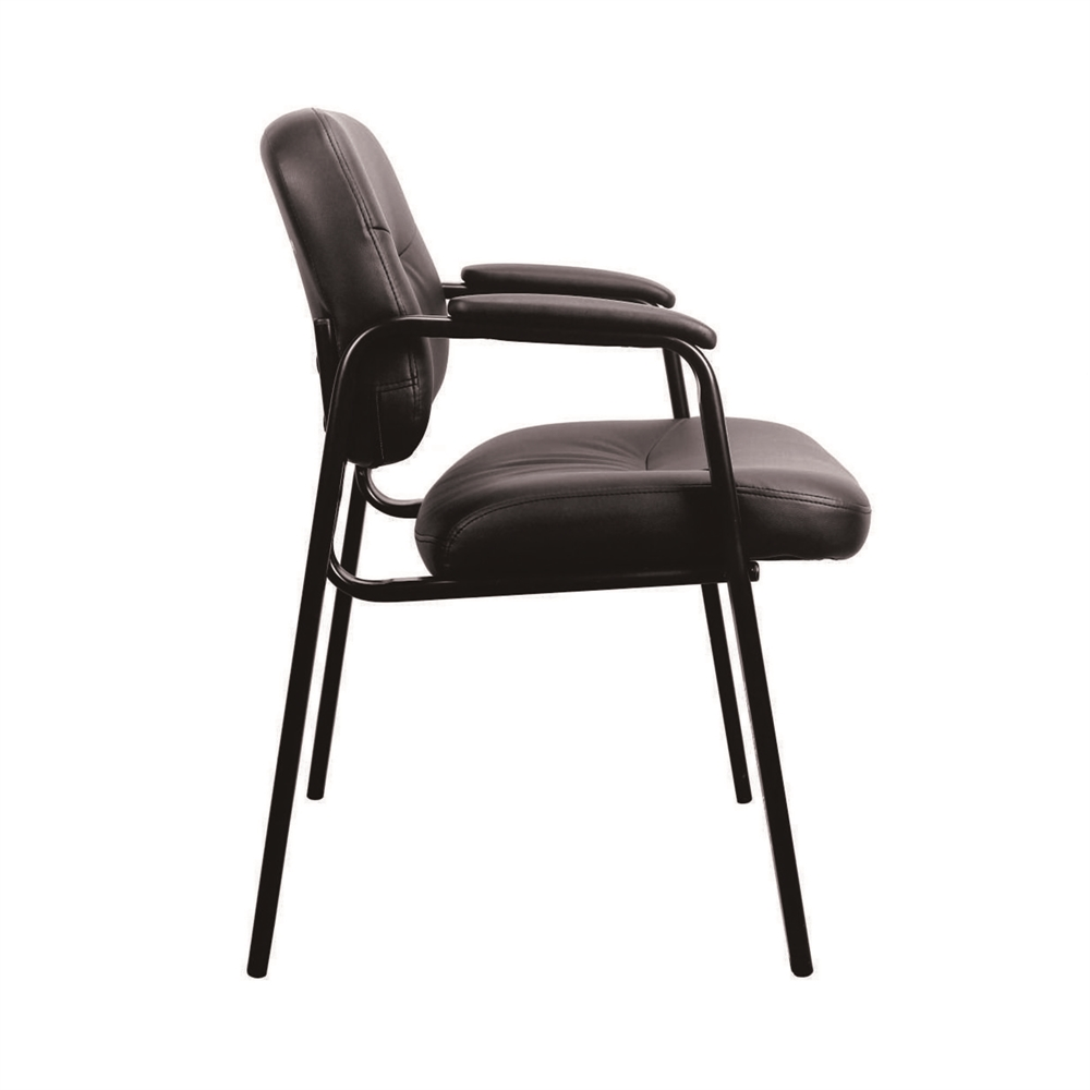 Leather Executive Side Chair with Padded Arms, Black