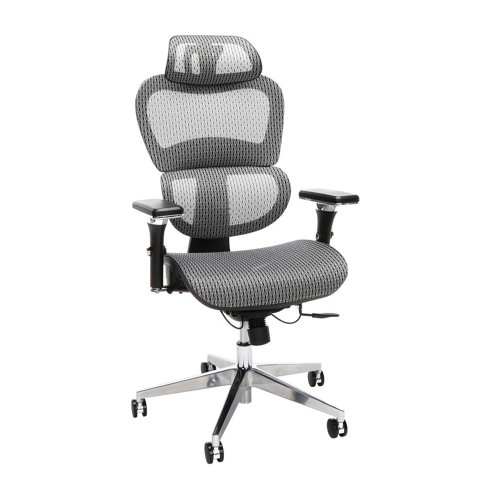 OFM Core Collection Ergo Office Chair featuring Mesh Back and Seat with Head Rest, in Gray (540-GRY). The main picture.