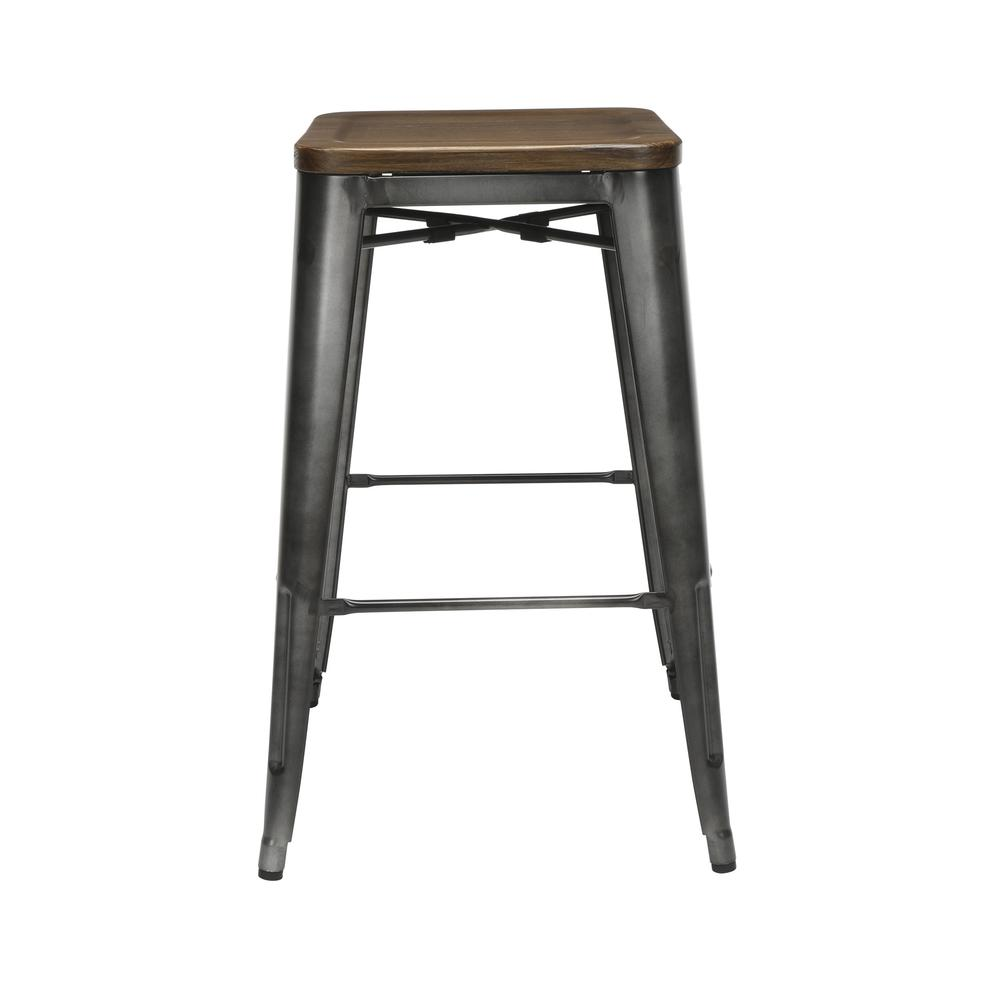 "The OFM 161 Collection Industrial Modern 30"" Backless Metal Bar Stools with Solid Ash Wood Seats, 4 Pack, require no assembly, are stackable, and provide a roomy 15 square inches of seating surface. P. Picture 5"