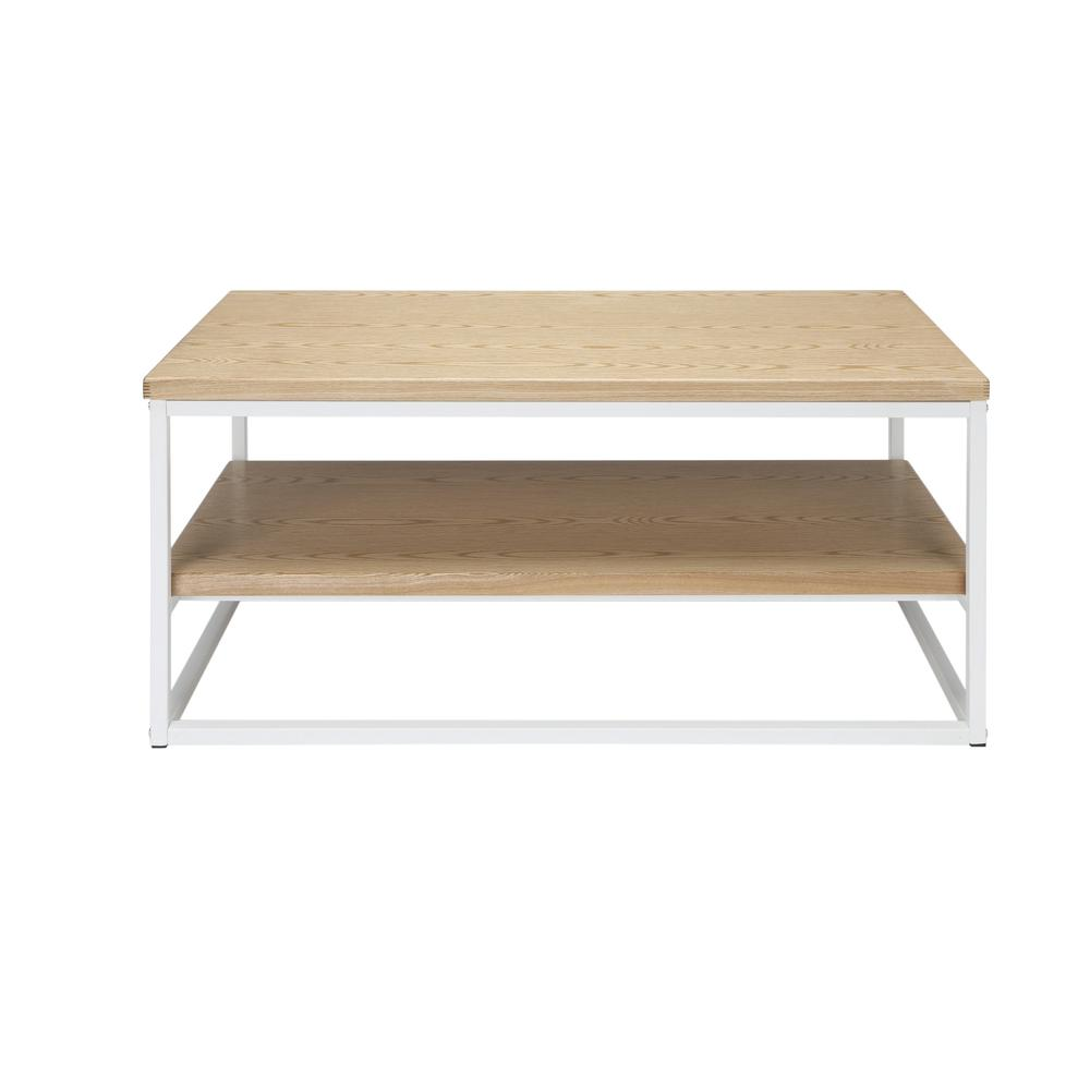 The OFM 161 Collection Industrial Modern Wood Top/Metal Frame Coffee Table with Wood Shelf is the perfect accent piece for any space as it blends easily in living rooms, recreational spaces, lobbies,. Picture 3