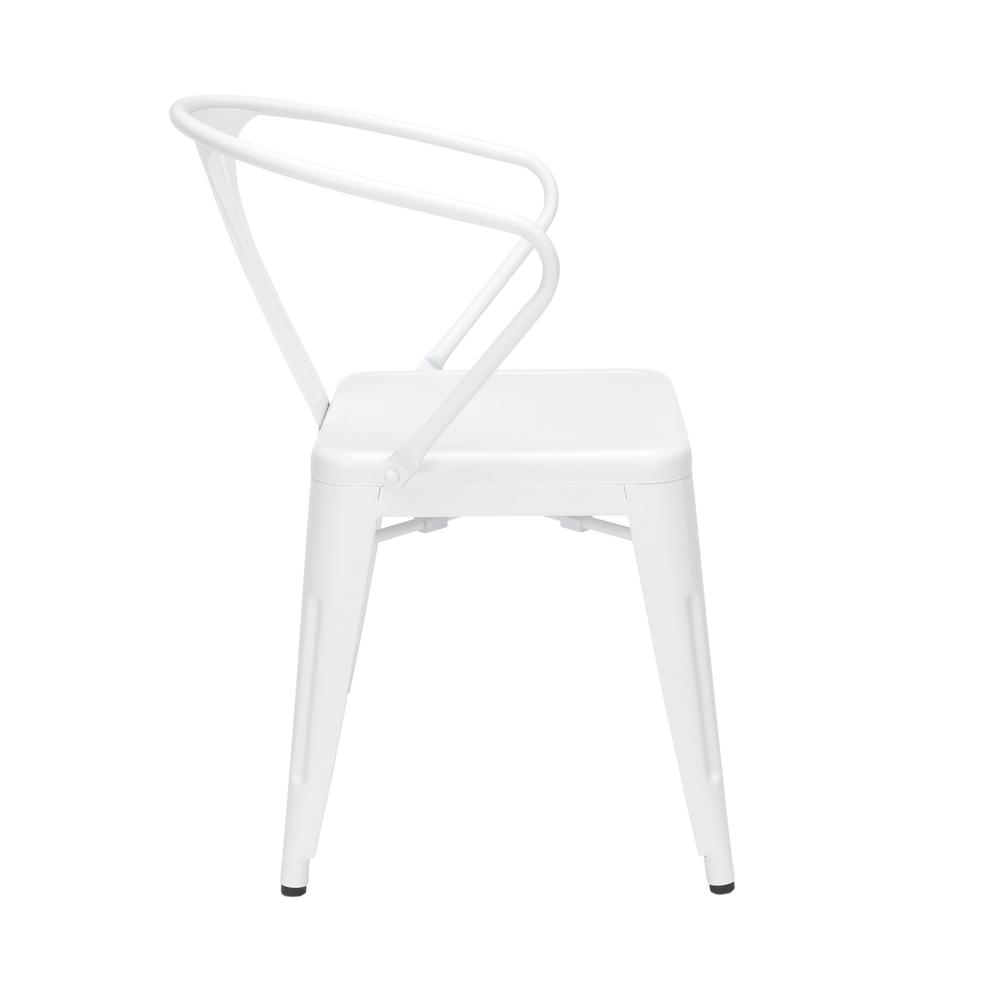 "OFM 161 Collection Industrial Modern 18"" Mid Back Metal Dining Chairs with Arms, 4 Pack, are manufactured with galvanized steel for indoor and outdoor use. These stacking metal chairs come fully assem. Picture 4"