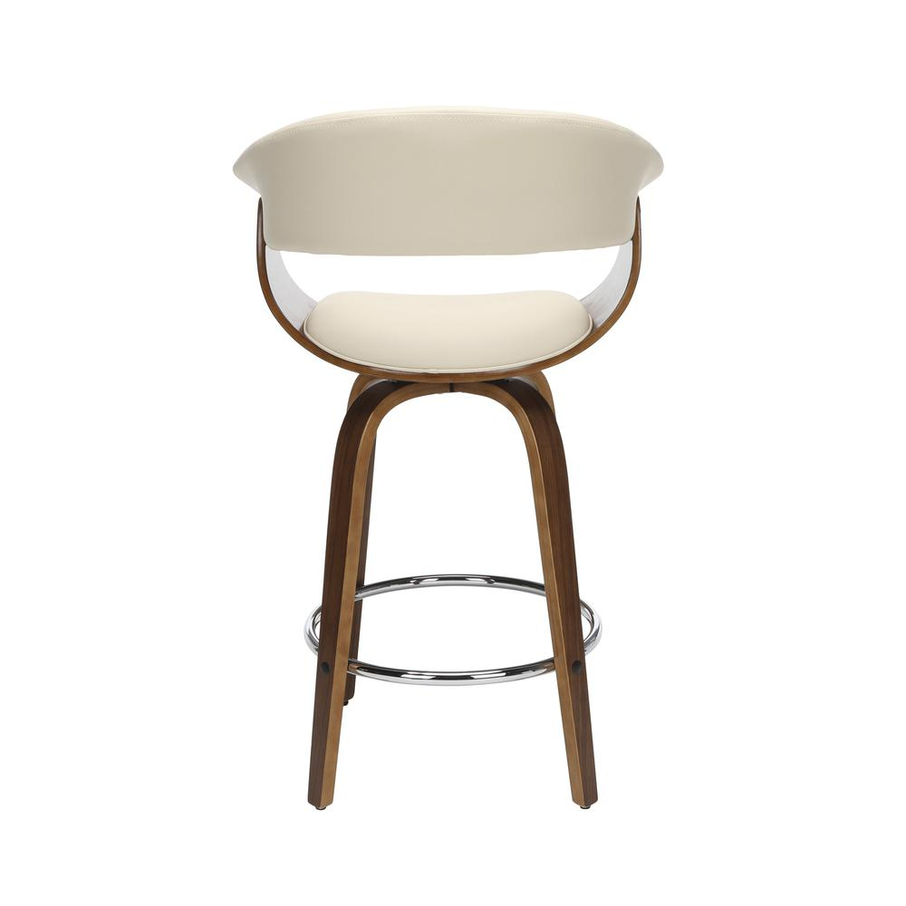 "The OFM 161 Collection Mid Century Modern 26"" Low Back Bentwood Frame Swivel Seat Stool, Vinyl Upholstery, in Ivory, is a statement piece that solves your elevated seating needs with the added functio. Picture 3"