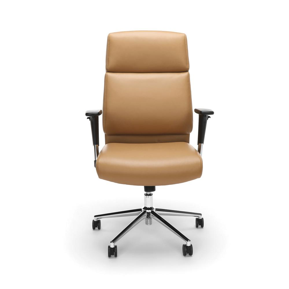 OFM Model 568 High-Back Bonded Leather Manager's Chair, Camel with Chrome Base. Picture 2