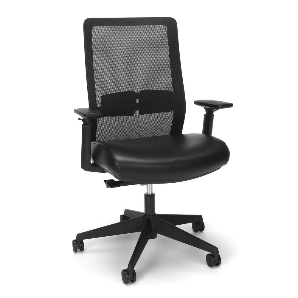 HON Basyx Biometryx Commercial-Grade Mesh Back with Bonded Leather Seat Task Chair, Office Chair, in Black (BSX155SB11T). Picture 1