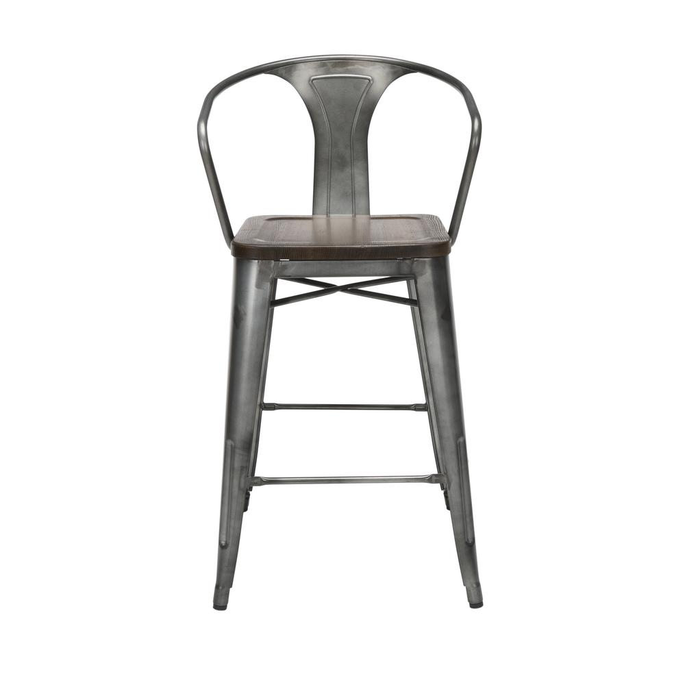 "The OFM 161 Collection Industrial Modern 26"" Mid Back Metal Stools with Arms and Solid Ash Wood Seats, 4 Pack, bring the industrial vibe of a galvanized steel frame with the cozy comfort of arms and c. Picture 2"