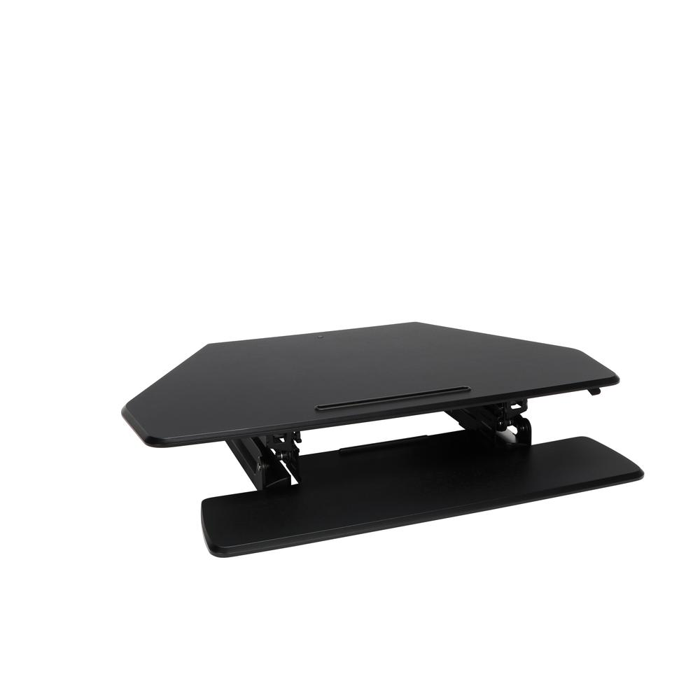 OFM Core Collection Adjustable Desktop Riser, Corner Standing L-Shaped Desk Converter, in Black (5100C-BLK). Picture 1