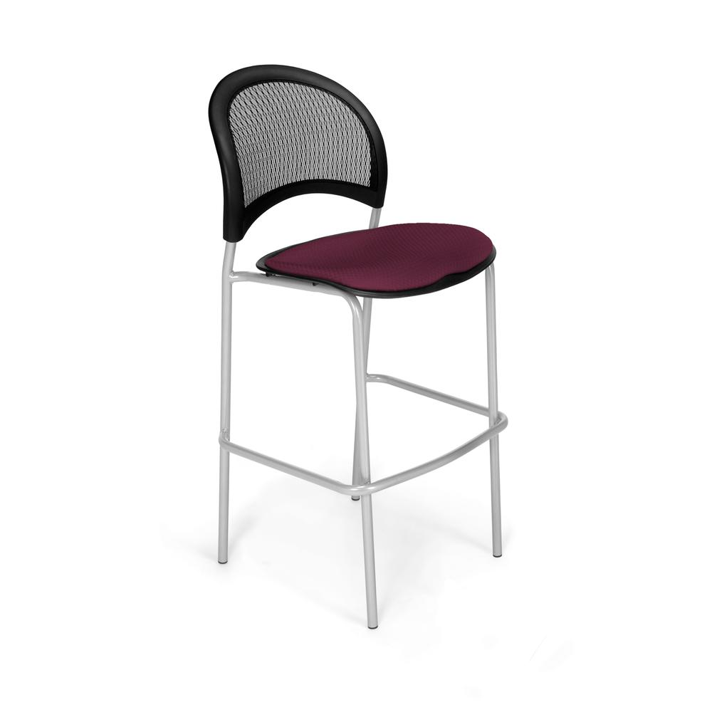 OFM Moon Series Model 338S Fabric Cafe Height Chair, Burgundy with Silver Base. Picture 1