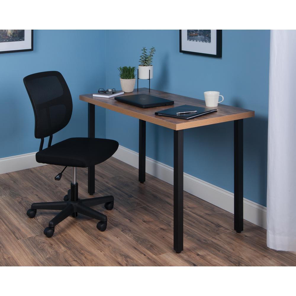 """OFM Essentials Collection 48"""" Table Desk, Knotty Oak Woodgrain (ESS-1051-BLK-KOA). Picture 7"""