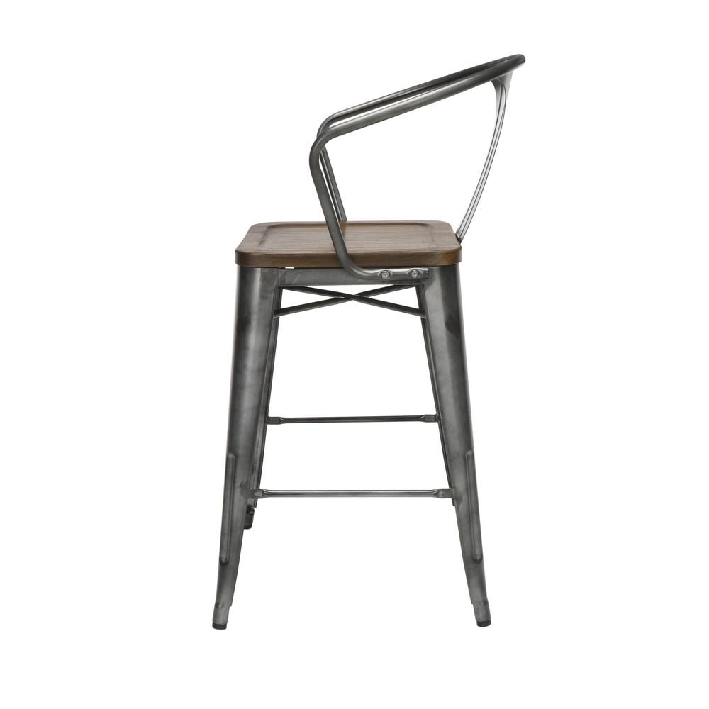 "The OFM 161 Collection Industrial Modern 26"" Mid Back Metal Stools with Arms and Solid Ash Wood Seats, 4 Pack, bring the industrial vibe of a galvanized steel frame with the cozy comfort of arms and c. Picture 5"