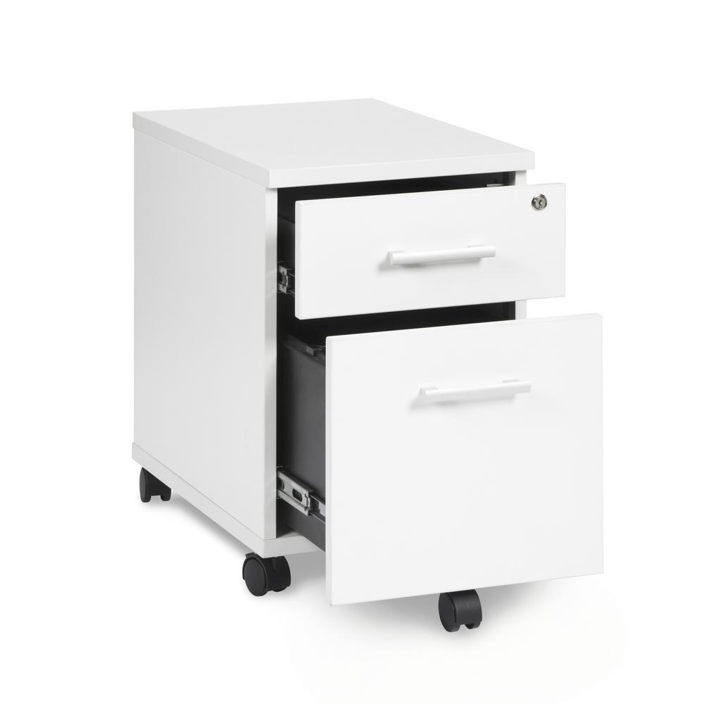 OFM Fulcrum Series Locking Pedestal, Mobile 2-Drawer Filing Cabinet, White (CL-MBF-WHT). Picture 6