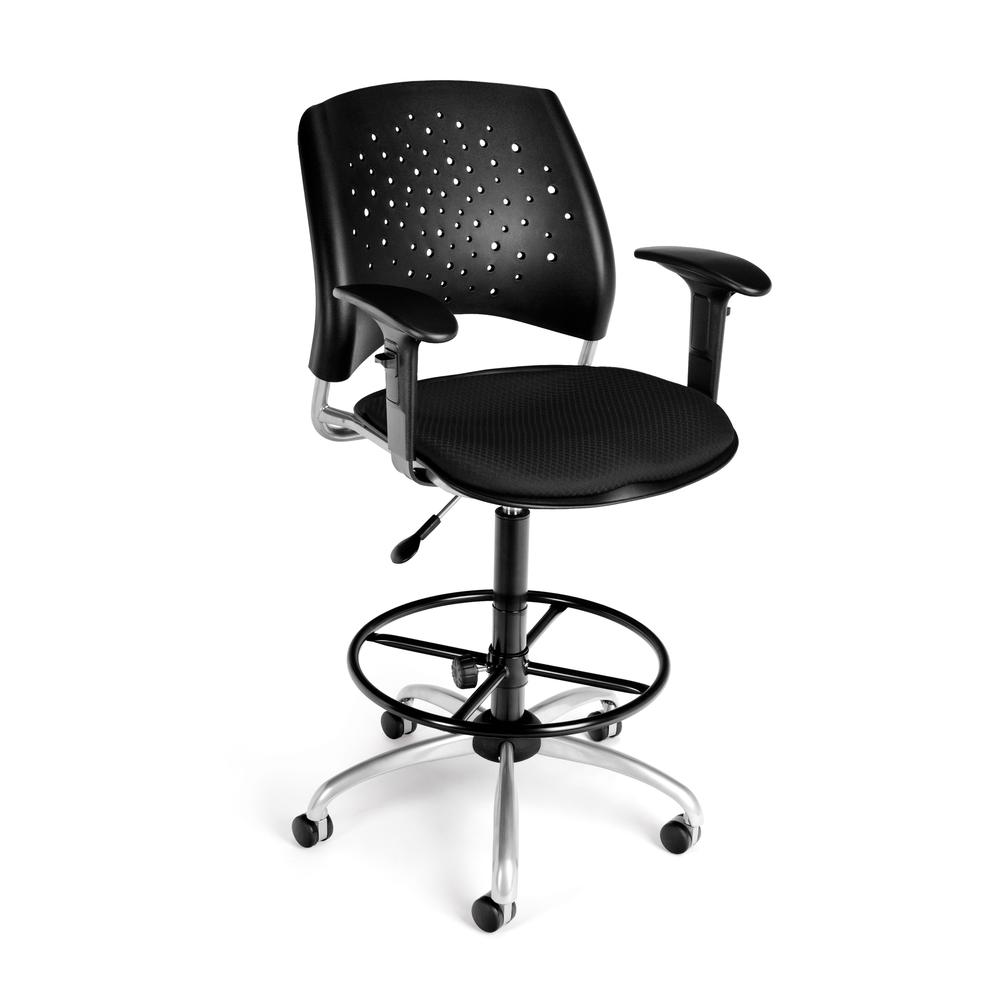 OFM Model 326-AA3-DK Fabric Swivel Task Chair with Arms and Kit, Black. Picture 1