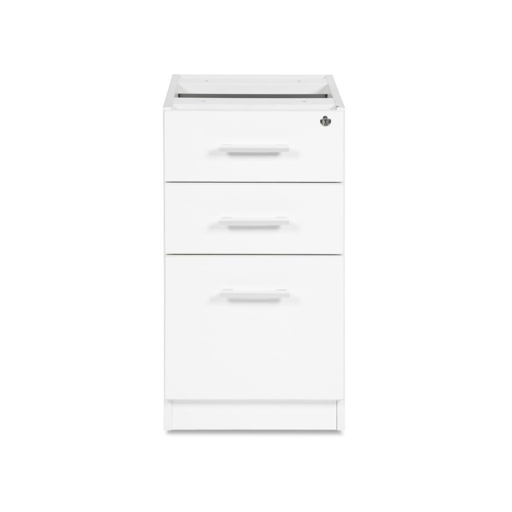 OFM Fulcrum Series Locking Pedestal, 3-Drawer Filing Cabinet, White (CL-BBF-WHT). Picture 2