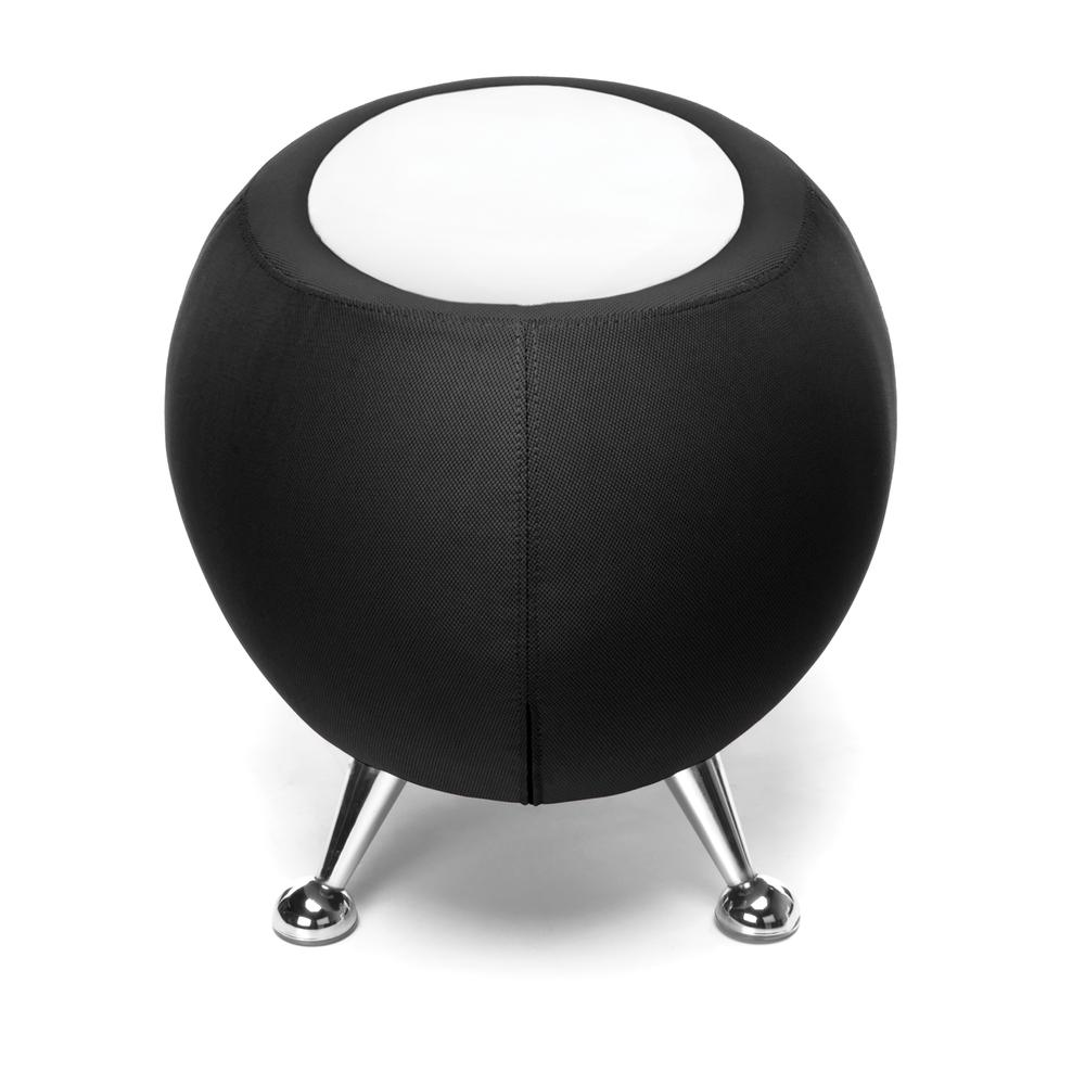 OFM Fabric Ball Stool, in Black, with White Table Top (2001T-2327-WHT). Picture 4