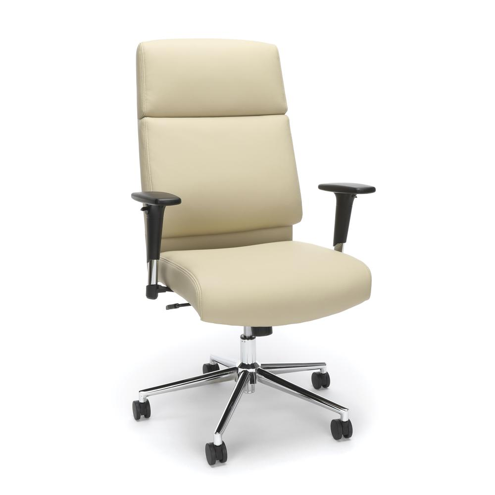 OFM Model 568 High-Back Bonded Leather Manager's Chair, Cream with Chrome Base. Picture 1
