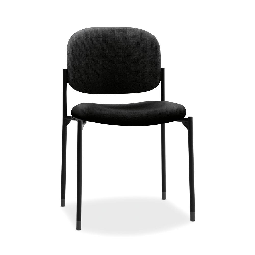 HON Scatter Guest Chair - Leather Stacking Chair Office Furniture, Black (VL606). Picture 1