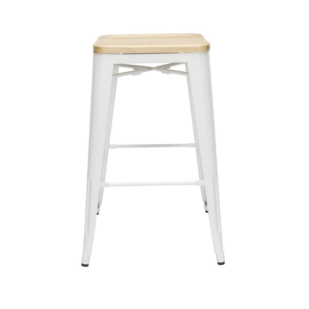 """The OFM 161 Collection Industrial Modern 30"""" Backless Metal Bar Stools with Solid Ash Wood Seats, 4 Pack, require no assembly, are stackable, and provide a roomy 15 square inches of seating surface. P. Picture 5"""