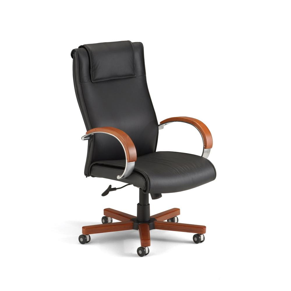 OFM Apex Series Model 560-L Leather High-Back Office Chair with Cherry. Picture 1