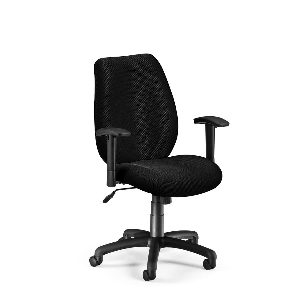 OFM Model 611 Ergonomic Upholstered Manager's Chair with Arms, Ebony. The main picture.