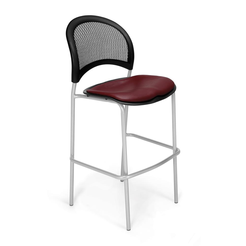 OFM Moon Series Model 338S-VAM Vinyl Cafe Height Chair, Wine with Silver Base
