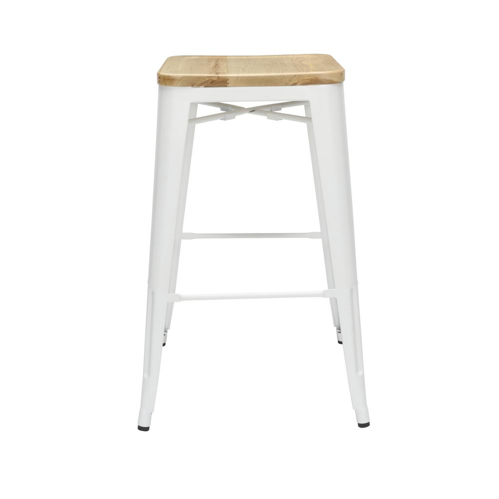 """The OFM 161 Collection Industrial Modern 30"""" Backless Metal Bar Stools with Solid Ash Wood Seats, 4 Pack, require no assembly, are stackable, and provide a roomy 15 square inches of seating surface. P. Picture 2"""