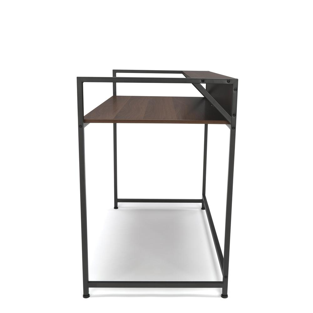 Essentials by OFM ESS-1003 Computer Desk with Shelf, Gray with Walnut. Picture 4
