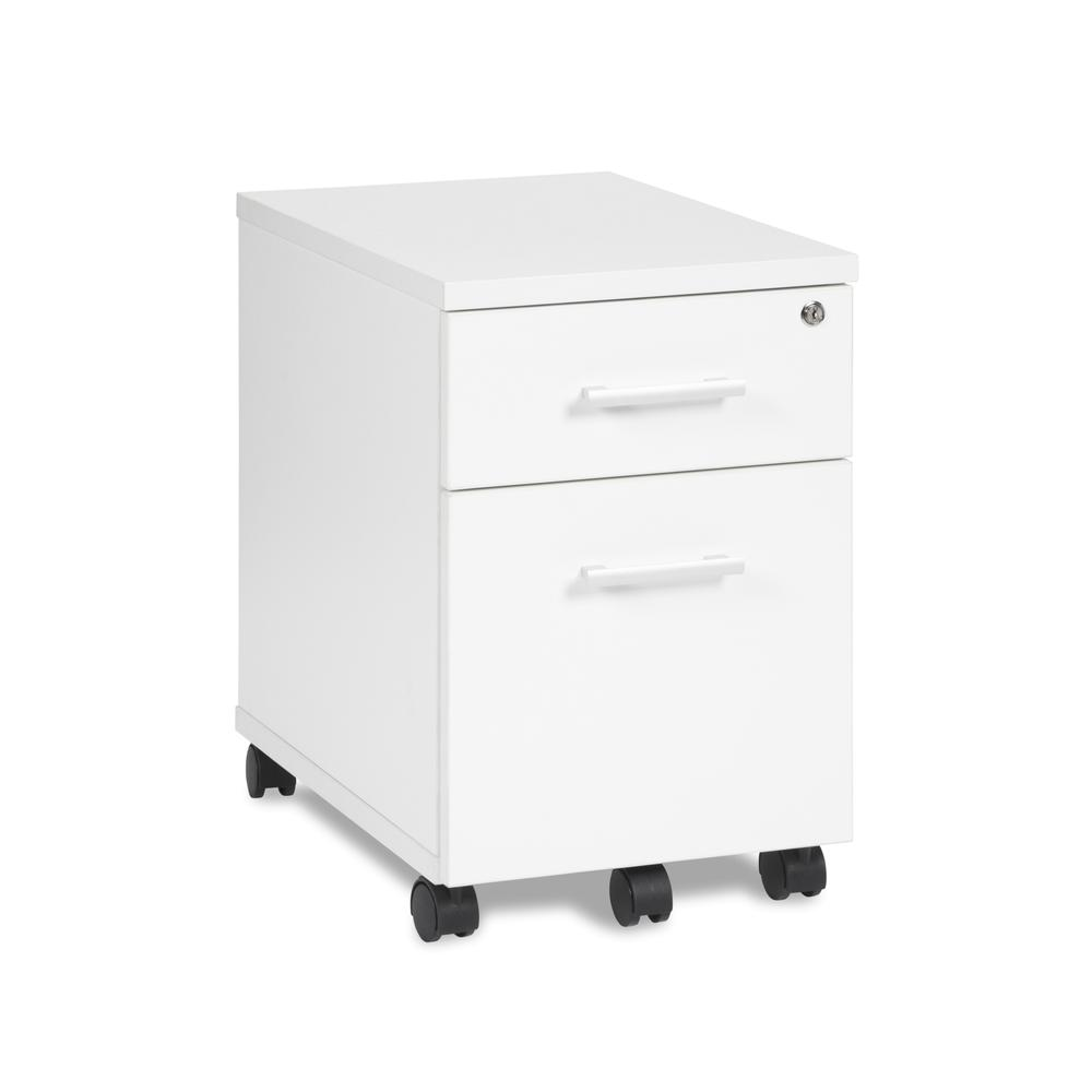 OFM Fulcrum Series Locking Pedestal, Mobile 2-Drawer Filing Cabinet, White (CL-MBF-WHT). Picture 1
