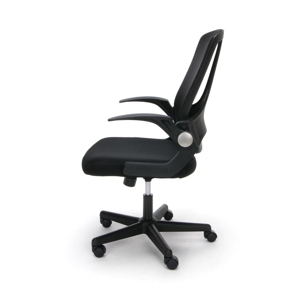 Essentials by OFM ESS-3045 Mesh Upholstered Flip-Arm Task Chair, Black. Picture 5