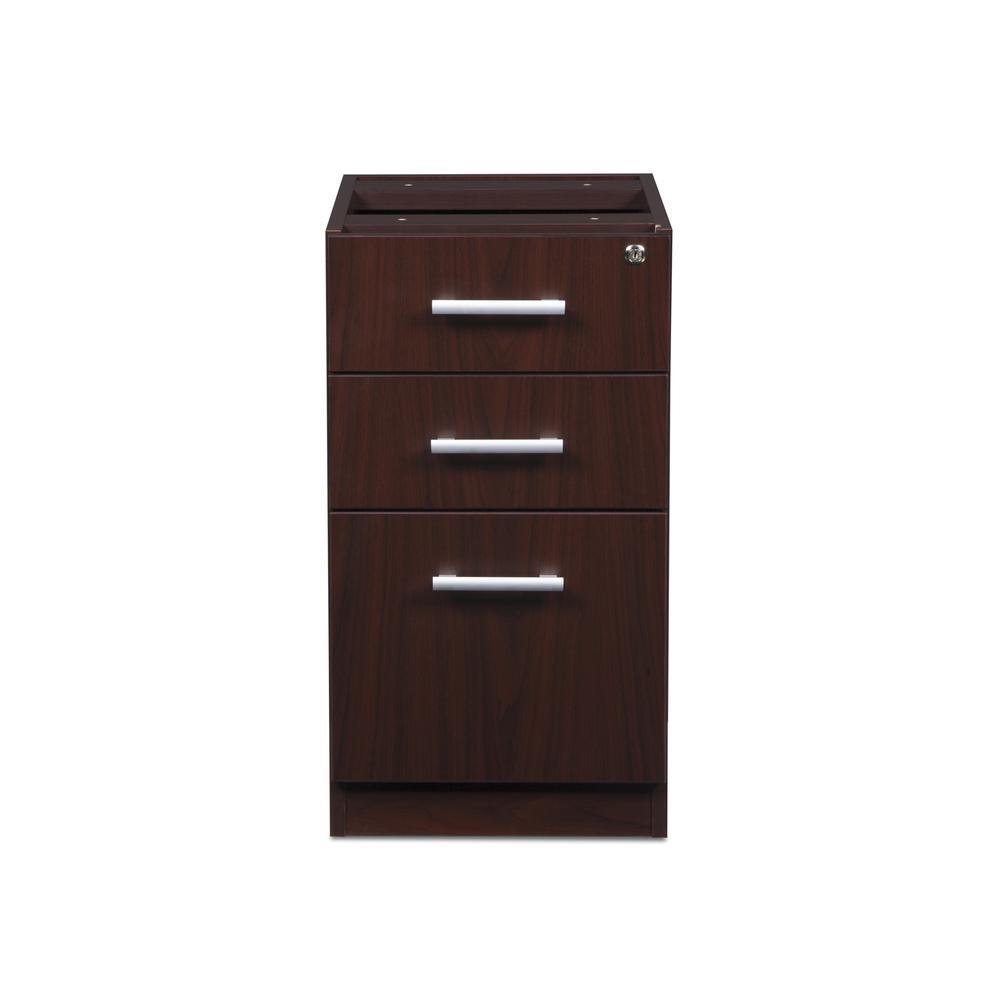 OFM Fulcrum Series Locking Pedestal, 3-Drawer Filing Cabinet, Mahogany (CL-BBF-MHG). Picture 2