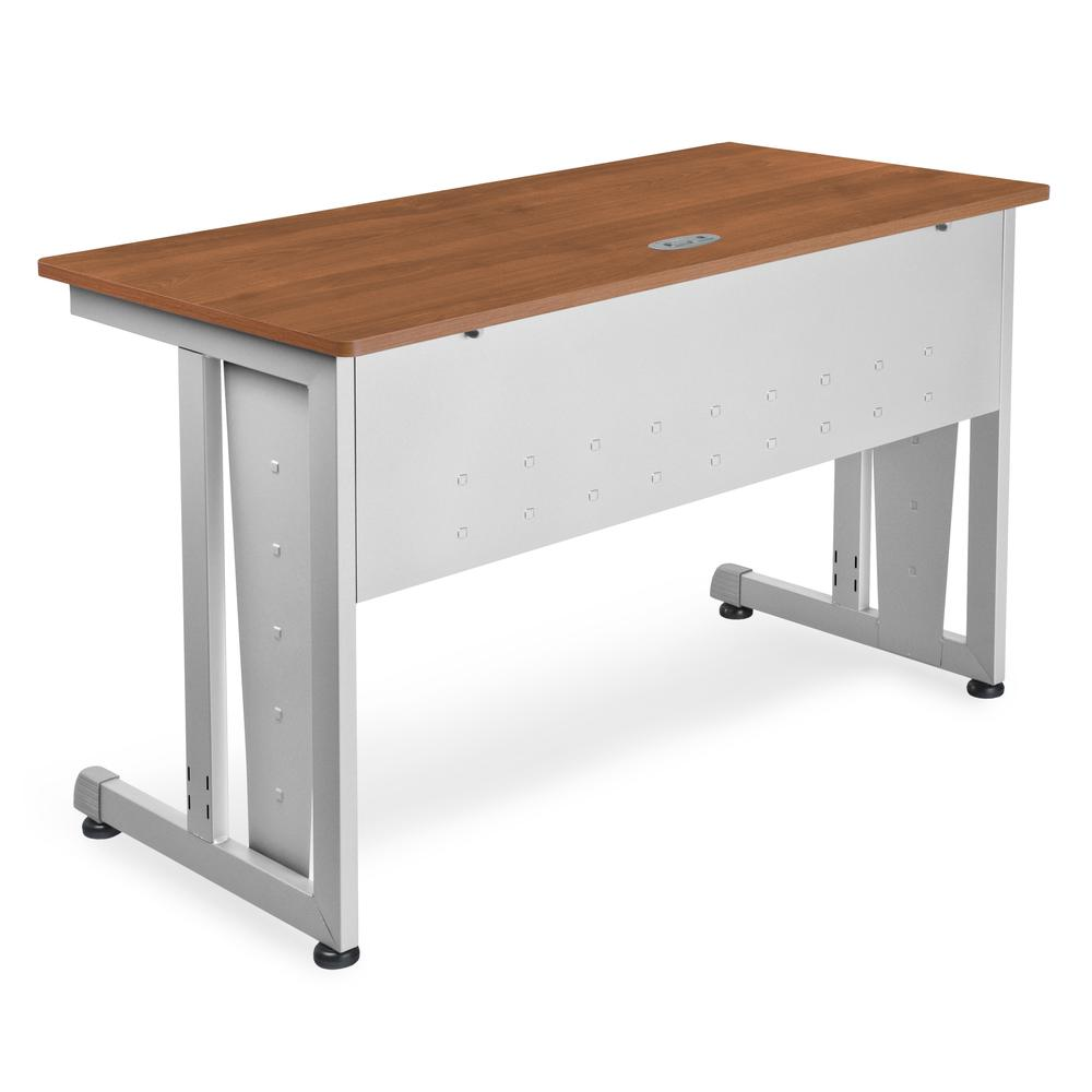 Modular Computer and Training Table, Cherry with Silver Frame. Picture 1