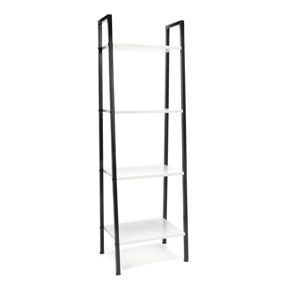 OFM ESS-1045 4-Shelf Free Standing Ladder Bookshelf with Black Frame. Picture 1