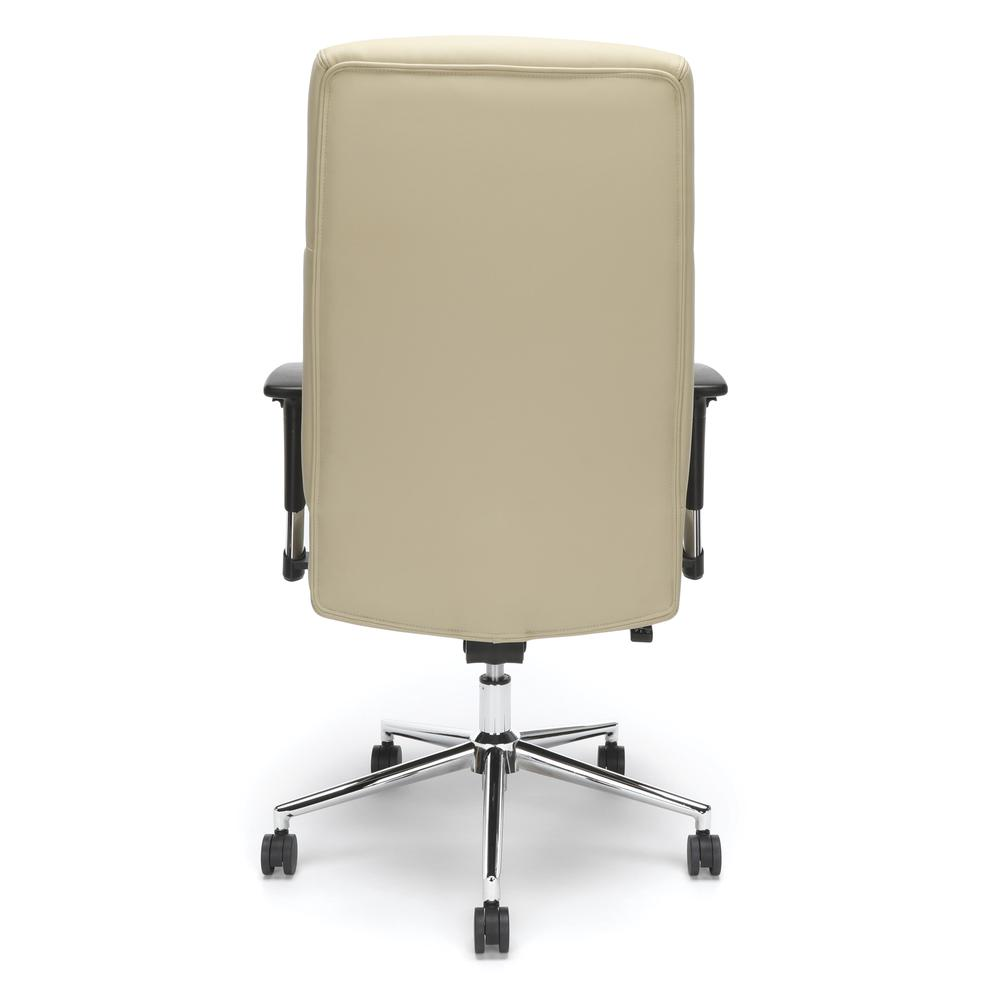OFM Model 568 High-Back Bonded Leather Manager's Chair, Cream with Chrome Base. Picture 3