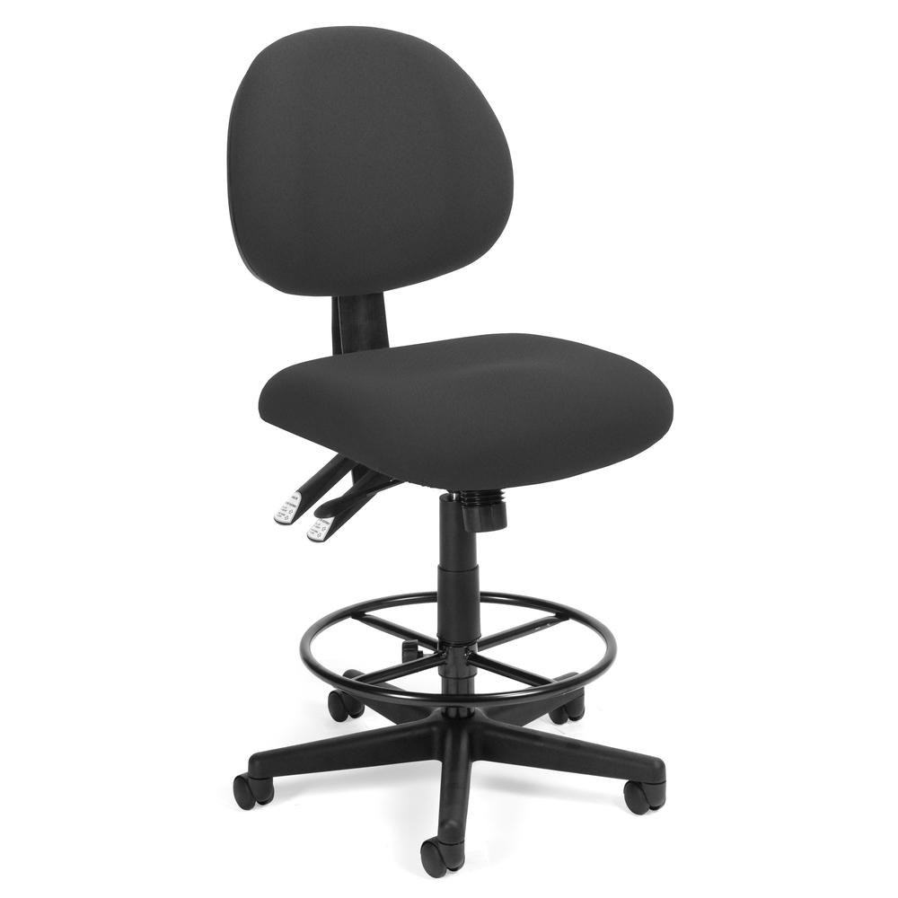 OFM 241-DK Upholstered Armless Task Chair with Kit, Charcoal. Picture 1