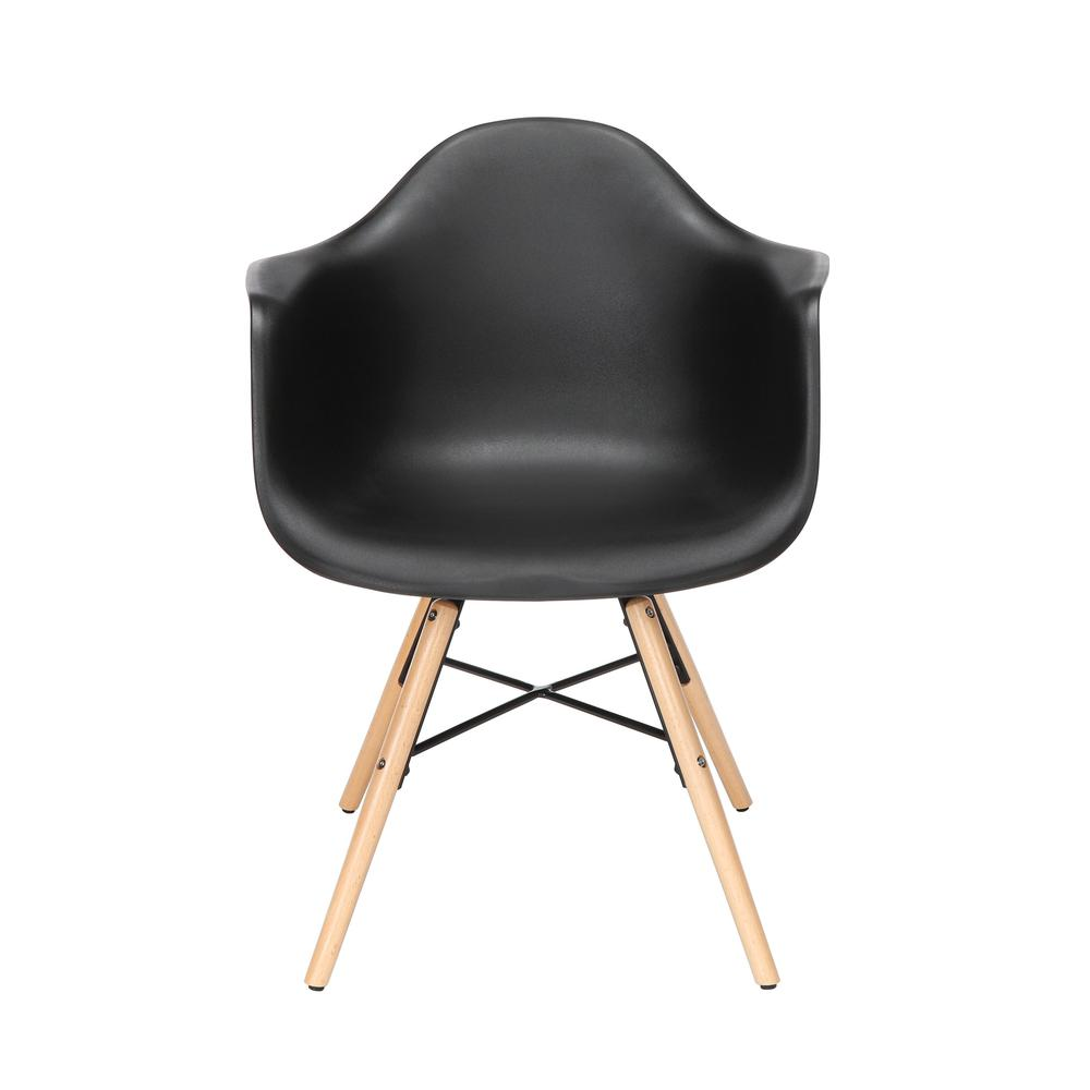 Collection 4 Pack Mid Century Modern Plastic Molded Accent Chairs with Arms, Dining Chairs, Beechwood Legs with Wire Accent, in Black. Picture 2