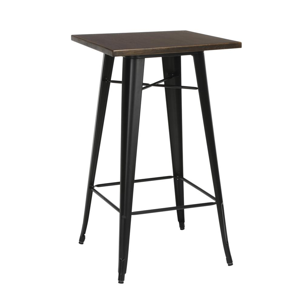 """The OFM 161 Collection Industrial Modern 24"""" Square Bar Table with Footring features a galvanized steel frame coupled with a 1"""" thick wooden tabletop and completed with a footrest that's positioned 11. Picture 1"""