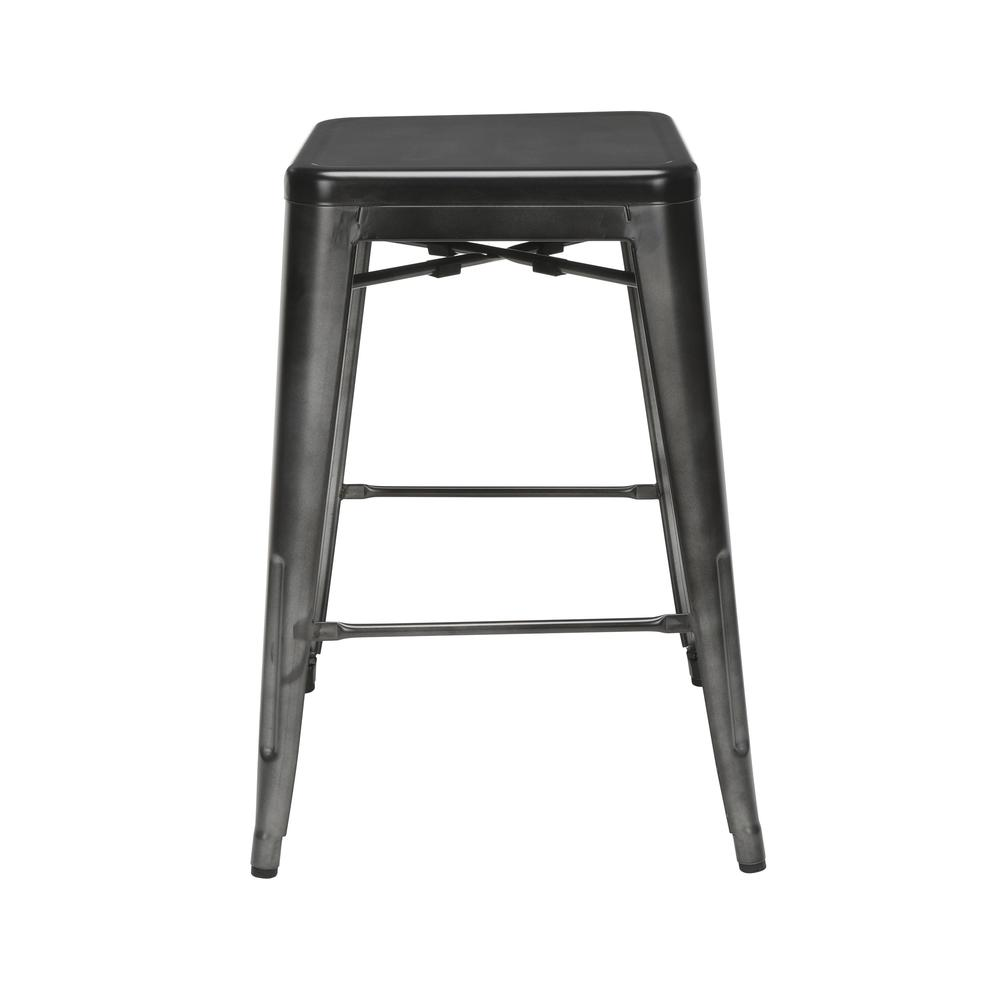 "The OFM 161 Collection Industrial Modern 26"" Backless Metal Bar Stools, 4 Pack, require no assembly, are stackable, and provide a roomy 15 square inches of seating surface. These counter height stools. Picture 2"