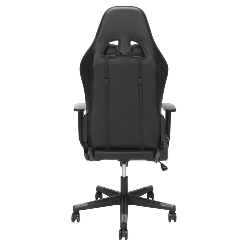 Essentials Collection High Back PU Leather Gaming Chair, with Extendable Footrest, in Grey (ESS-6075FR-GRY). Picture 3