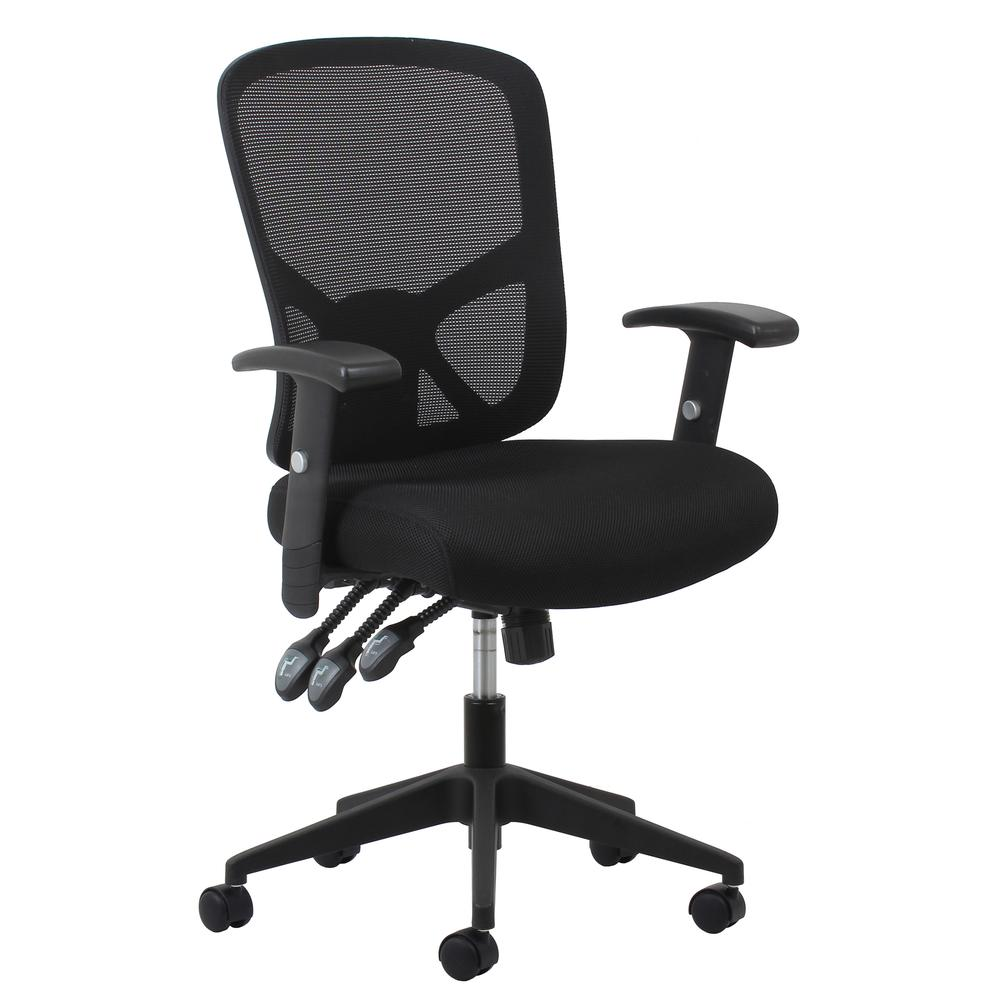 OFM ESS-3050 3-Paddle Mesh High-Back Task Chair with Arms and Support. Picture 1