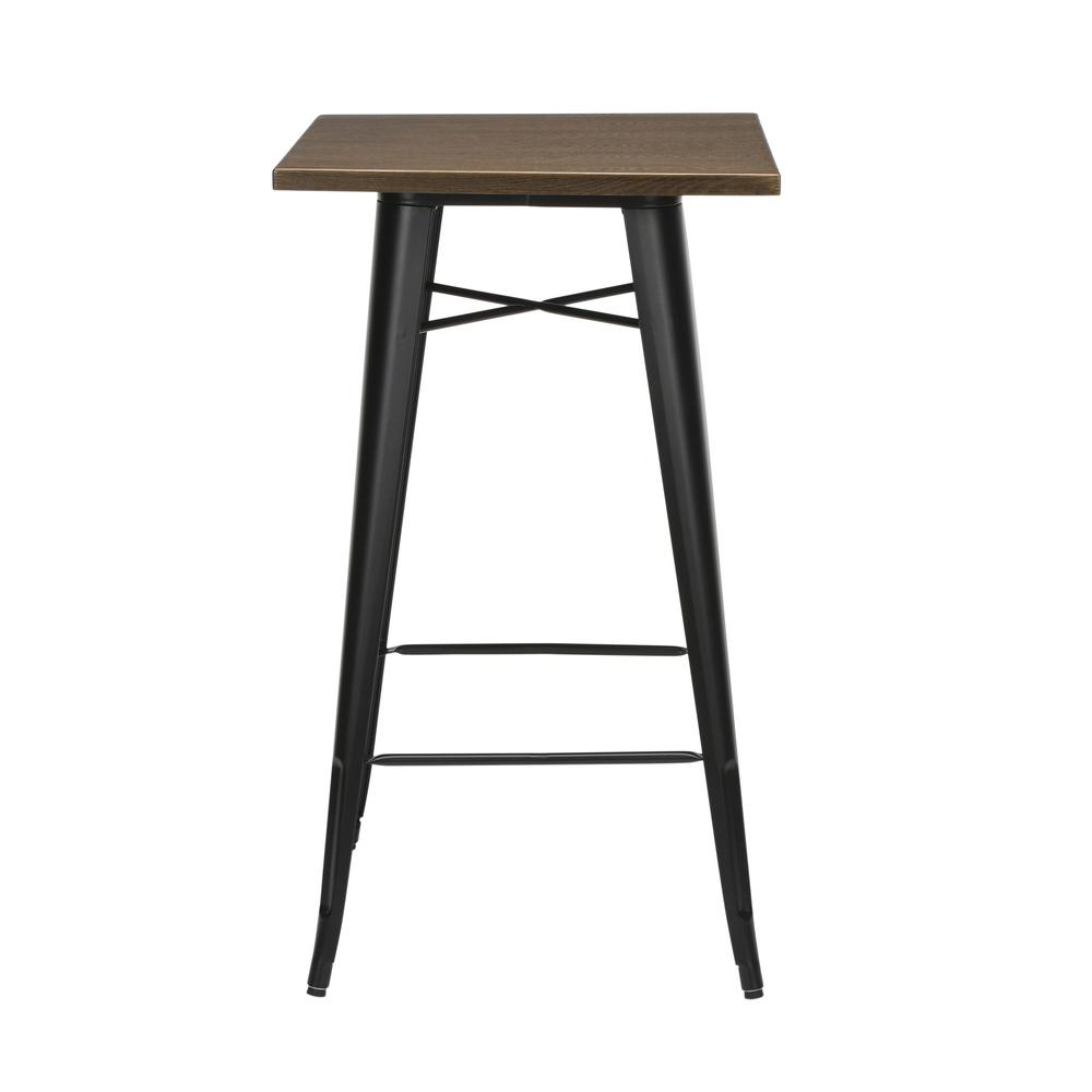 """The OFM 161 Collection Industrial Modern 24"""" Square Bar Table with Footring features a galvanized steel frame coupled with a 1"""" thick wooden tabletop and completed with a footrest that's positioned 11. Picture 5"""