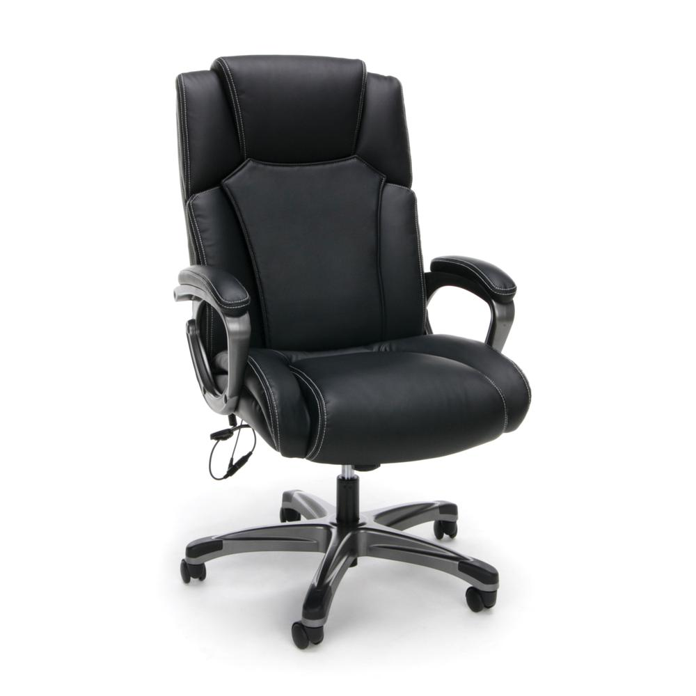 OFM ESS-6035M Heated Shiatsu Massage Bonded Leather Chair. Picture 1
