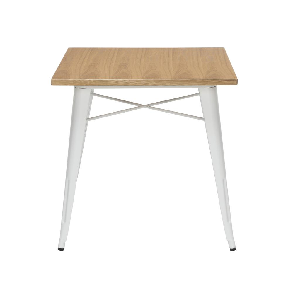 """The OFM 161 Collection Industrial Modern 30"""" Square Dining Table features a galvanized steel body with a wooden tabletop that is ideal for covered outdoor spaces or any indoor space like kitchens, caf. Picture 2"""