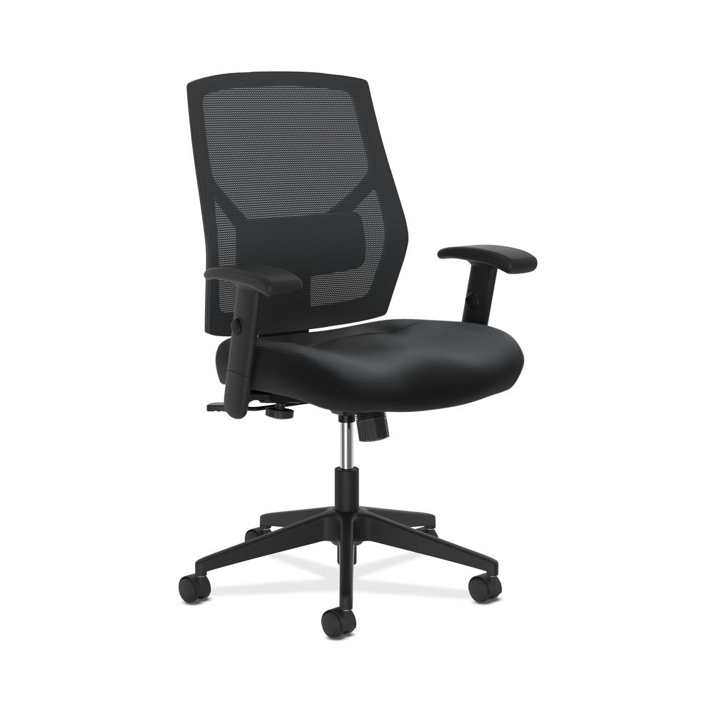 HON Crio High-Back Task Chair - Leather Mesh Back Computer Chair for Office  Desk, Black (HVL48)