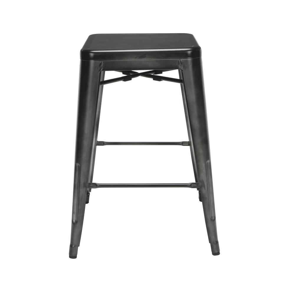 "The OFM 161 Collection Industrial Modern 26"" Backless Metal Bar Stools, 4 Pack, require no assembly, are stackable, and provide a roomy 15 square inches of seating surface. These counter height stools. Picture 5"