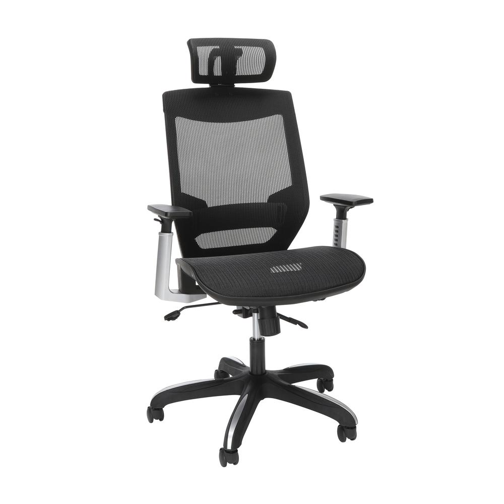 OFM Core Collection Full Mesh Office Chair with Headrest, Lumbar Support, in Black. Picture 1