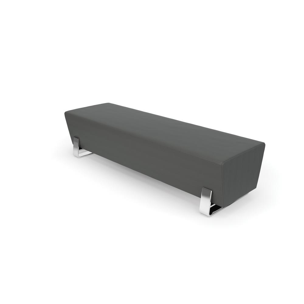 OFM Triple Seating Bench, Textured Vinyl with Chrome Base, in Slate. Picture 1