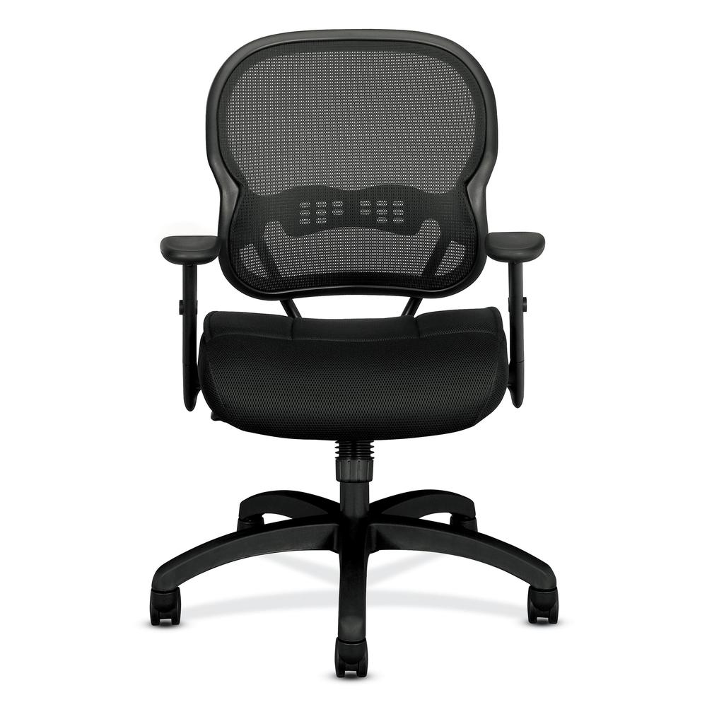HON Wave Mid-Back Chair - Mesh Office or Computer Chair with Adjustable Arms, Black (VL712). Picture 2