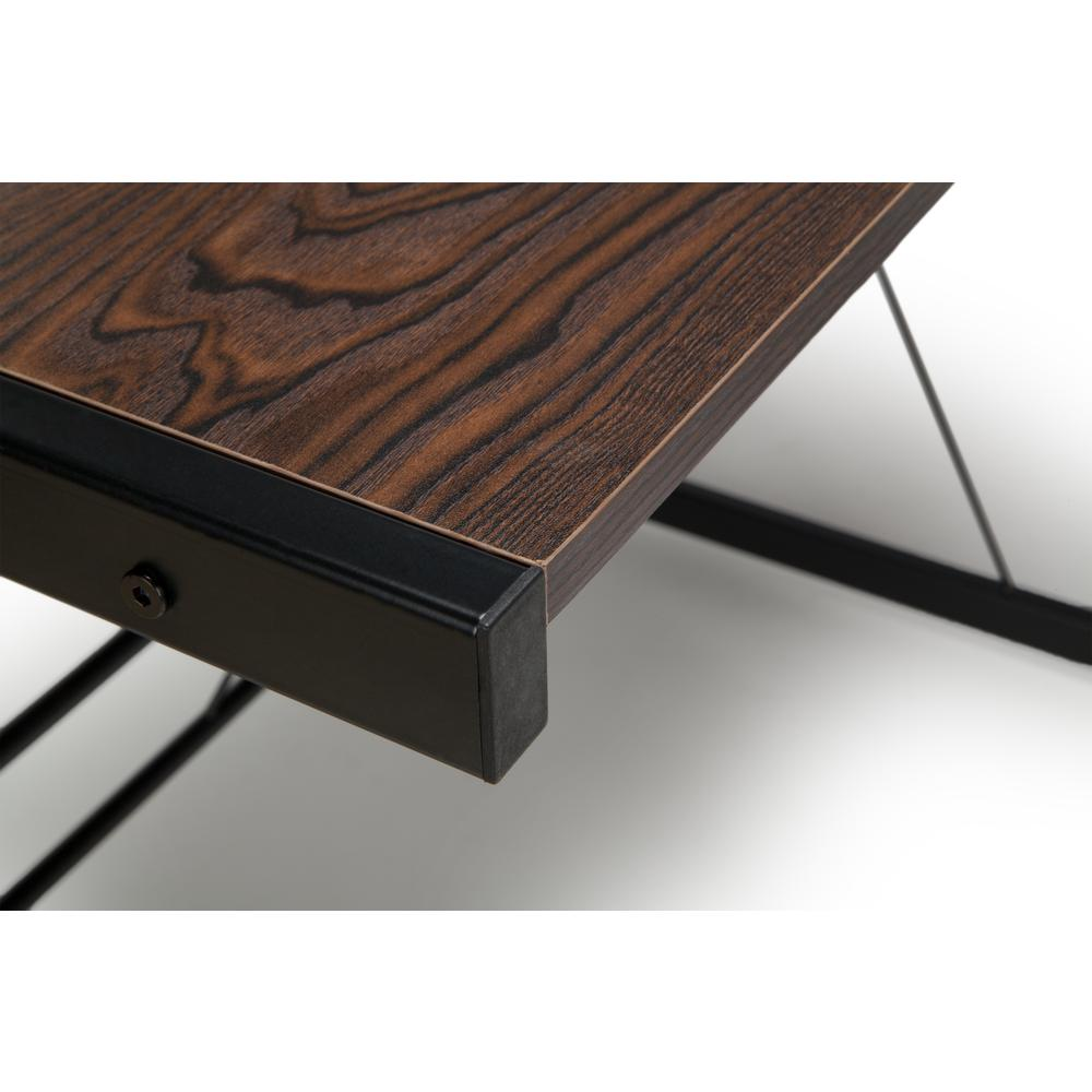 "60"" Metal Frame L-Shaped Desk, Corner Computer Desk, in Wenge. Picture 7"