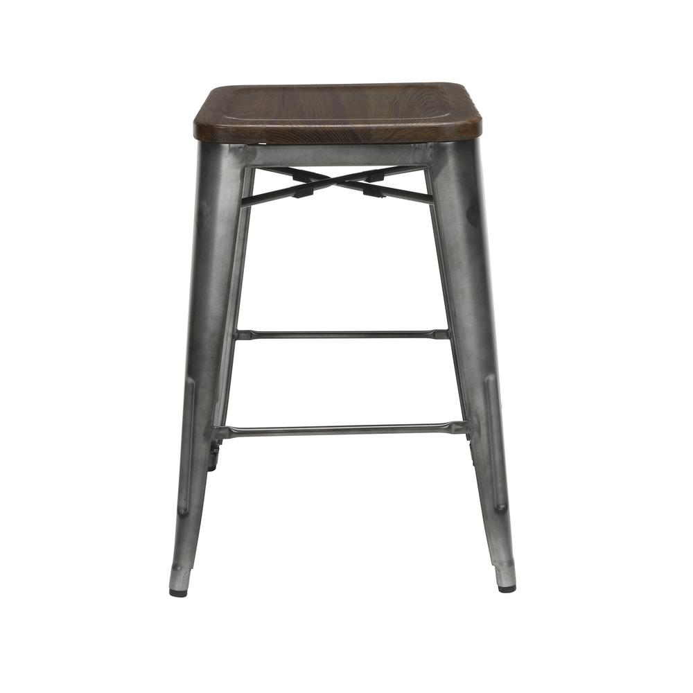 """The OFM 161 Collection Industrial Modern 26"""" Backless Metal Bar Stools with Solid Ash Wood Seats, 4 Pack, require no assembly, are stackable, and provide a roomy 15 square inches of seating surface. P. Picture 5"""